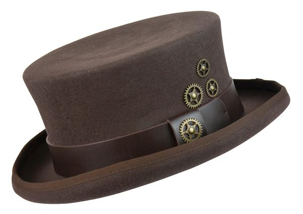 Conner Handmade Hats Victorian and Old West Hat: Steampunk Time Travel Top Hat with Clock Wheels Brown