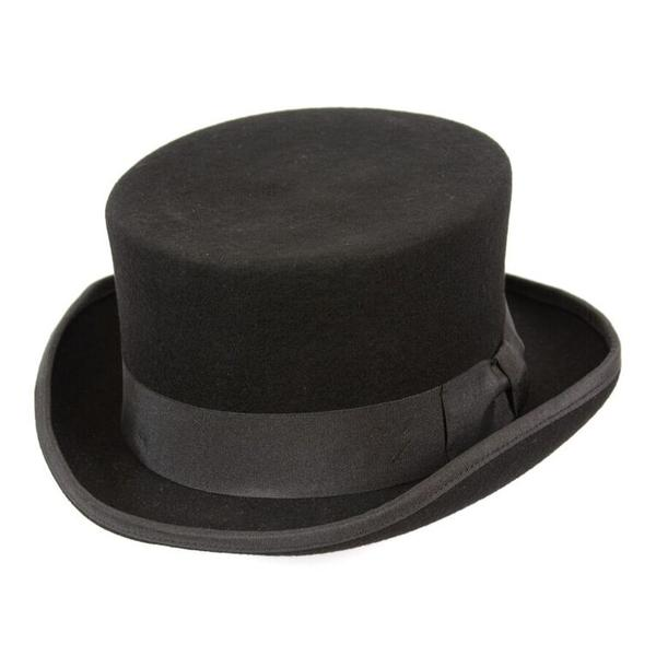 48808a28298db6 Conner Handmade Hats Victorian and Old West Hat: Steampunk Low Rise Top Hat  Black