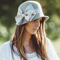 Conner Handmade Hats Boho: Cloche Wool Penny Lane Putty