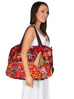 ZSold Scully Cantina Collection Cotton Handbag: A Shoulder Bag Tassle Cranberry SOLD