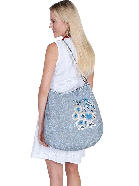 A Scully Cantina Collection Cotton Handbag: Shoulder Bag Floral Print Gray & Blue