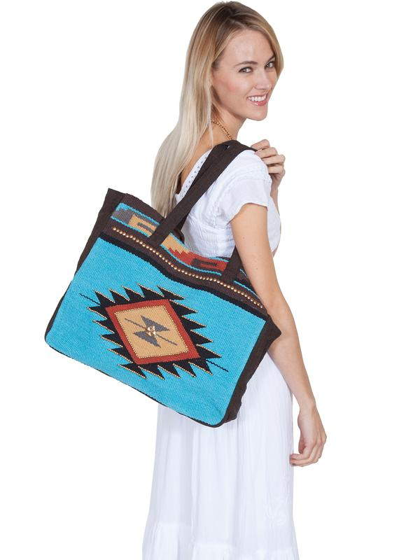A Scully Cantina Collection Cotton Handbag: A Shoulder Bag Aztec Design Teal