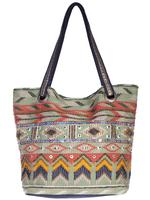 A Scully Cantina Collection Cotton Handbag: A Shoulder Bag Geometric Design Sage