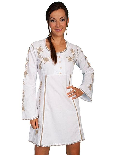 Scully Ladies' Cantina Collection Dress: Long Sleeve Crochet Trim White