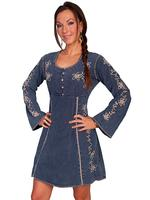 Scully Ladies' Cantina Collection Dress: Long Sleeve Crochet Trim Dark Blue