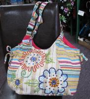 ZSold Scully Cantina Collection Cotton Handbag: A Shoulder Bag Flower Power with Stripes SOLD