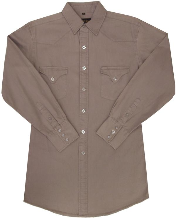 White Horse Men's Western Shirt: Solid Canvas Sand Big