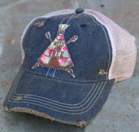 Original Cowgirl Clothing:Cap Teepee Wild and Free Navy