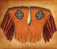 Patricia Wolf Gloves: Turquoise Celtic Cross on Saddle