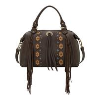 ZSold American West Handbag A Chenoa Collection: Leather Zip Top Convertible Satchel Large Fringe Chocolate