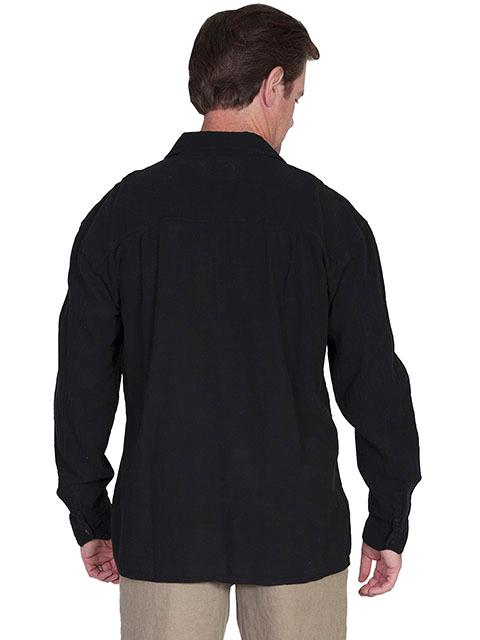8cadb6b4d2 Scully Men s Cantina Collection Contemporary Shirt  Cotton Pullover Laceup  Black S-2XL