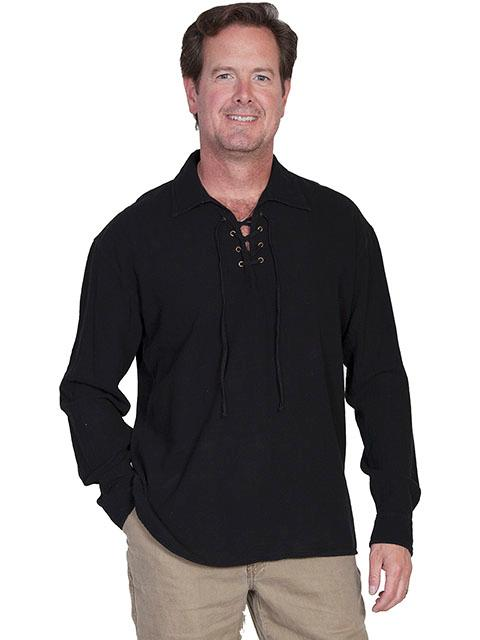 Scully Men's Cantina Collection Contemporary Shirt: Cotton Pullover Laceup Black S-2XL
