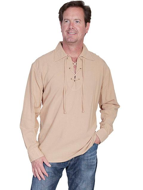 79ab0c9138 Scully Men s Cantina Collection Contemporary Shirt  Cotton Pullover Laceup  Sand ...