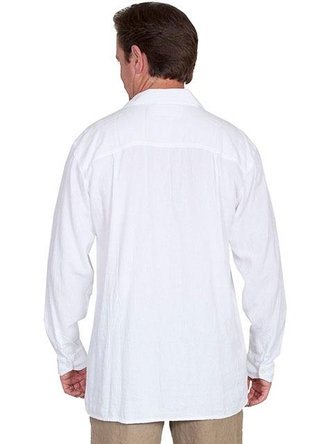 e60f7d9776 Scully Men s Cantina Collection Contemporary Shirt  Cotton Pullover Laceup  White