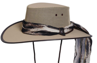 Conner Handmade Hats BC Hats: Mesh Cool As A Breeze Canvas with Scarf Beige