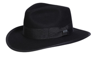 Conner Handmade Hats Fedora: Wool Indy Crushable Black