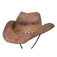 Conner Handmade Hats Cowboy Western Style Raffia: Pearl Coffee One Size