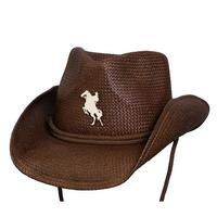 Conner Handmade Hats Cowboy Western Style Raffia: Kids Happy Horse Toast One Size