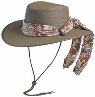 Conner Handmade Hats BC Hats: Mesh Cool As A Breeze Canvas with Scarf Brown
