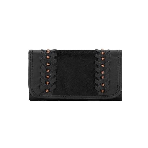 American West Handbag A Cow Town Collection: Leather Tri-Fold Wallet Black