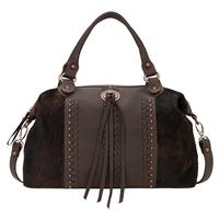 American West Handbag A Cow Town Collection: Leather Zip Top Convertible Satchel Large Chocolate