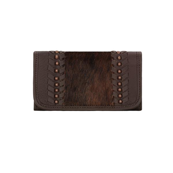 American West Handbag A Cow Town Collection: Leather Tri-Fold Wallet Chocolate