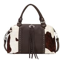American West Handbag A Cow Town Collection: Leather Zip Top Convertible Satchel Large Two Tone
