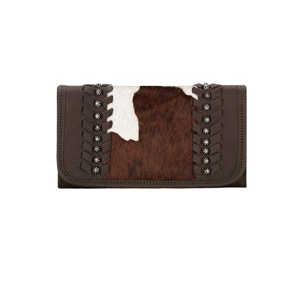 American West Handbag A Cow Town Collection: Leather Tri-Fold Wallet Chocolate Two Tone