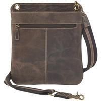 Concealed Carry Crossbody Shouder Flat Bag Brown
