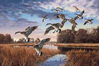 TXLC Custom Tile Cutting Board Landscape: David A. Maass Daybreak Descent-Geese Special Order