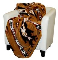 Denali® American Dakota Collection: Horse Thieves Brown Throw Blanket