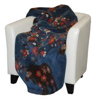 Denali® American Dakota Collection: Moose Blossom on Blue Throw Blanket
