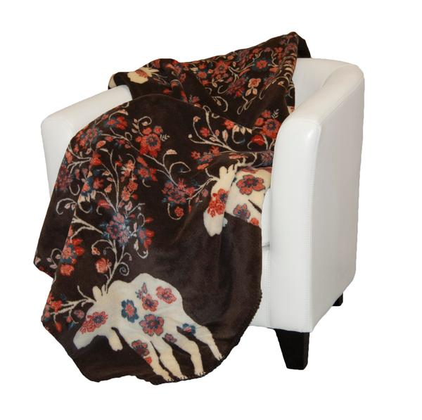 Denali® American Dakota Collection: Moose Blossom on Taupe Throw Blanket