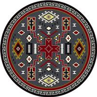 American Dakota Rug: Voices Collection Double Cross Red & Gray 8' Round