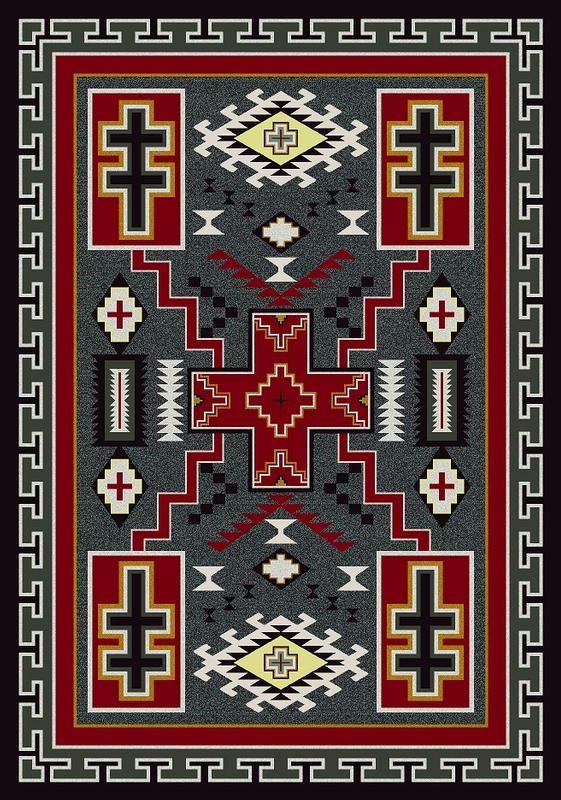 American Dakota Rug: Voices Collection Double Cross Red & Gray 4x5 Drop Ship
