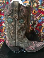 A Ladies' Dan Post Boots Western Fashion: Vintage Arrow Pink Snip Toe DEAL