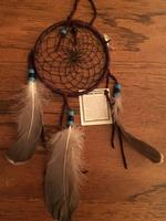 4in Navajo Dream Catcher: Natural Accent Leather Wrap Black Web