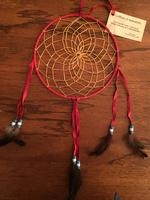 8in Navajo Dream Catcher: Leather Wrap w Feathers Large Red Blue White Beads