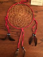 8in Navajo Dream Catcher: Leather Wrap w Feathers Large Red Black Blue Beads