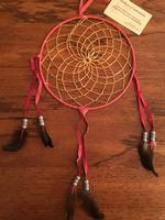 8in Navajo Dream Catcher: Leather Wrap w Feathers Large Rose Blue Tan Beads