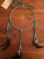 8in Navajo Dream Catcher: Leather Wrap w Feathers Large Turquoise