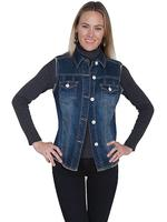 Scully Ladies' Honey Creek Collection Vest: Denim with Raw Edge S-L