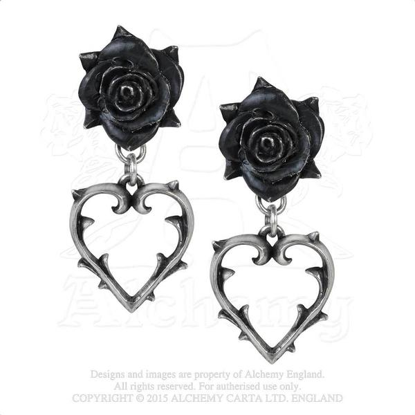 Alchemy Earring Gothic: Black Roses with Open Hearts