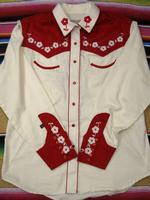 Rockmount Ranch Wear Ladies' Vintage Western Shirt: A Elvis Cream and Red Sings Teddy Bear XL