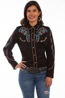 A Scully Ladies' Vintage Western Shirt: Feather and Floral Black