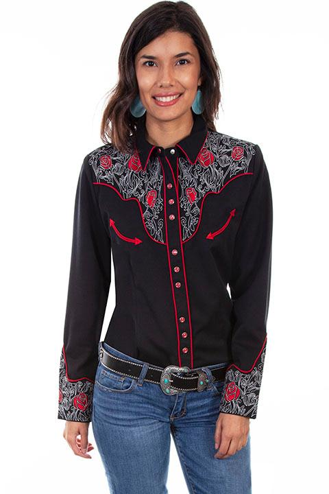 A Scully Ladies' Vintage Western Shirt: Red Roses on Black