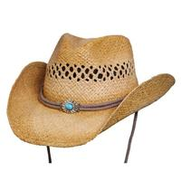 Conner Handmade Hats Cowboy Western Style Raffia: Big Sky Summer Straw Tea
