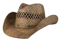 Conner Handmade Hats Cowboy Western Style Raffia: Stormy Turquoise Colored Beads Coffee S/M, L/XL