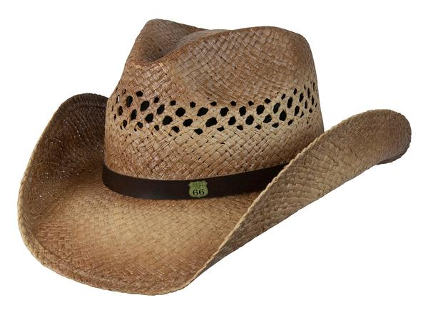 Conner Handmade Hats Cowboy Western Style Raffia: Leather Hatband and RT 66 Logo Caramel