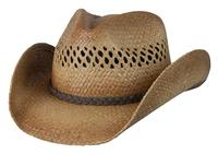 Conner Handmade Hats Cowboy Western Style Raffia: Vented Crown Leather Hatband Tex Caramel S/M, L/XL
